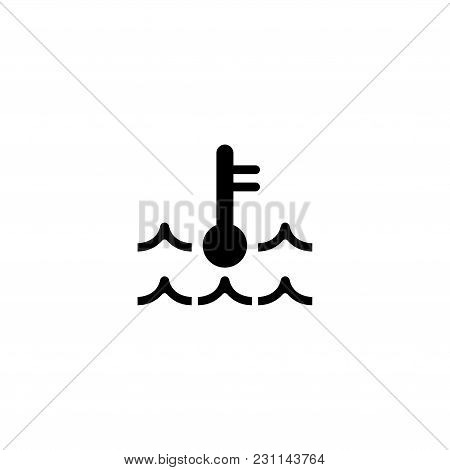 Motor Temperature. Flat Vector Icon. Simple Black Symbol On White Background