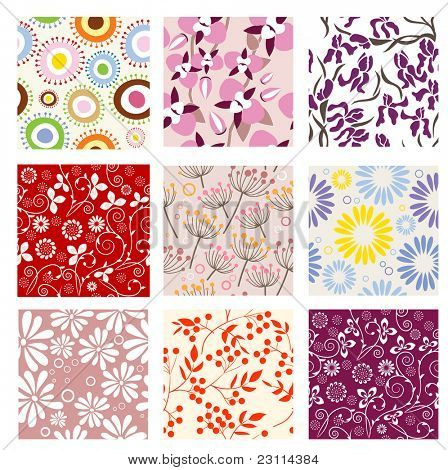 Collection of nine seamless patterns. Raster version.