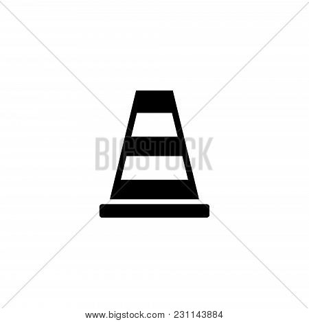 Traffic Road Cone. Flat Vector Icon. Simple Black Symbol On White Background