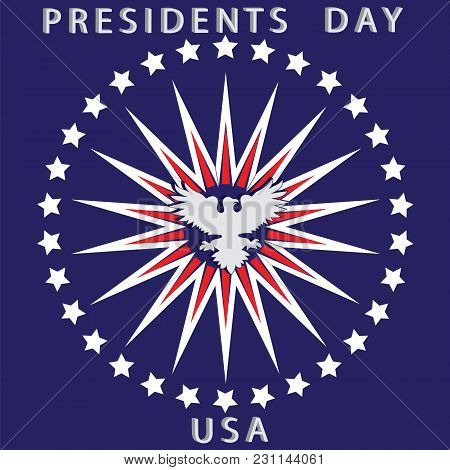 Us President's Day Card White Eagle Rays Red Stars On A Blue Background Vector