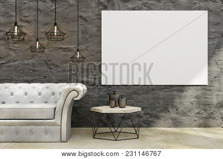 Modern Concrete Living Room Interior With Leather Sofa, Coffee Table, Decorative Ceiling Lamps And E