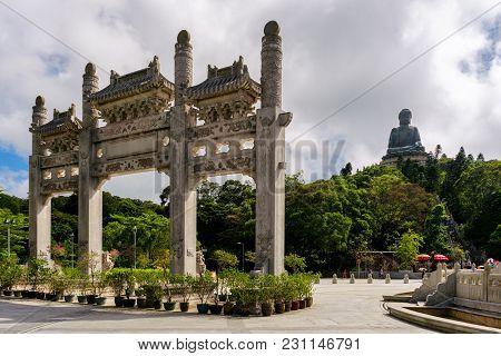 Hongkong Scenic Tian Tan Buddha Or Big Buddha, A Large Bronze Statue At Ngong Ping, Lantau Island, H
