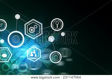 Abstract Digital Business Interface Background. Finance And Analysis Concept. 3d Rendering