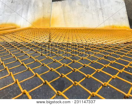 Close Up Of Yellow Steel Fence At Thailand