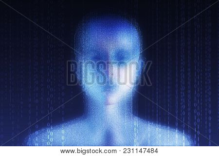 Abstract digital binary code female head on blue background. Computing, cyberspace and programming concept. Double exposure poster