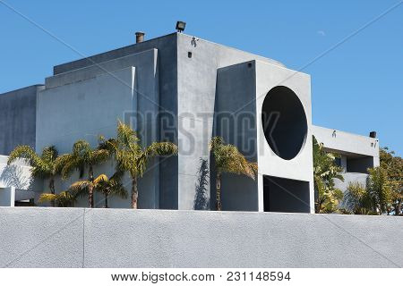 Malibu, United States - April 6, 2014: Modern California Residential Home As Seen From Public Road I