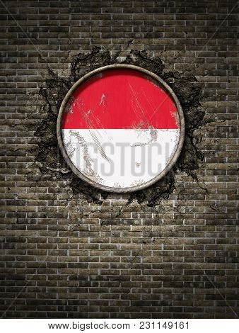 3d Rendering Of An Indonesia Flag Over A Rusty Metallic Plate Embedded On An Old Brick Wall