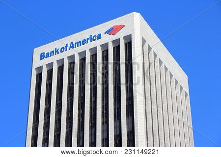 Los Angeles, Usa - April 5, 2014: Bank Of America Plaza Skyscraper In Los Angeles. The Building Is 7
