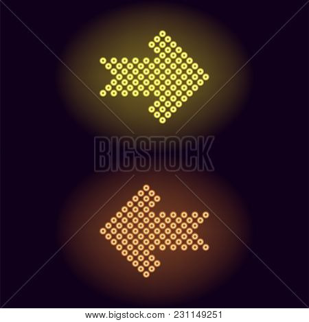 Yellow And Orange Neon Arrow With Rings. Vector Illustration Of Short Neon Arrow Consisting Of Many