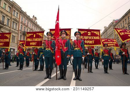 Saint Petersburg, Russia - May 09, 2018: Banner Group With Banners Of The Fronts Of The Great Patrio