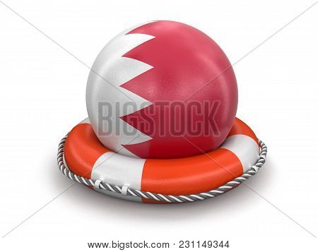 3d Illustration. Ball With Bahrain Flag On Lifebuoy. Image With Clipping Path