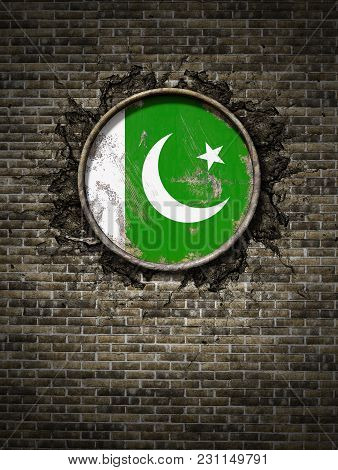 3d Rendering Of A Pakistan Flag Over A Rusty Metallic Plate Embedded On An Old Brick Wall
