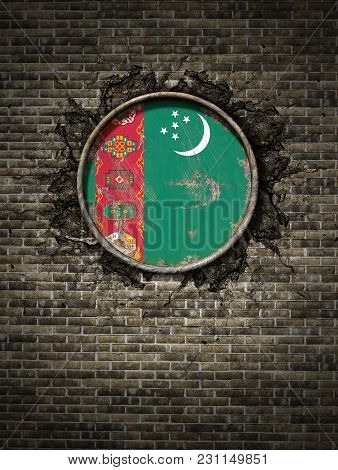 3d Rendering Of A Turkmenistan Flag Over A Rusty Metallic Plate Embedded On An Old Brick Wall