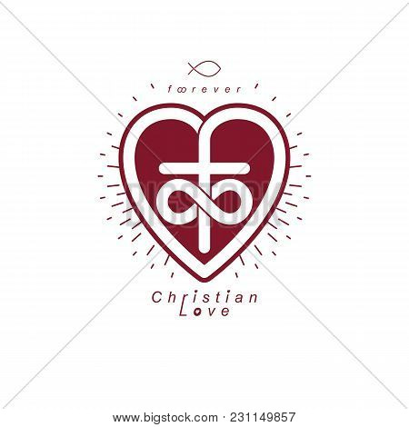 Everlasting Love Of God Vector Creative Symbol Design Combined With Infinity Endless Loop And Christ