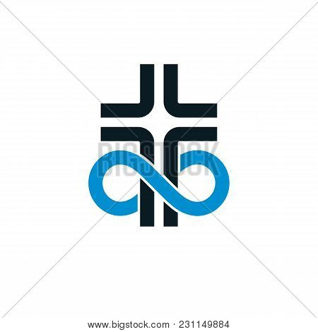 True Infinite Christian Belief In God, Vector Creative Symbol Design, Combined With Infinity Eternal