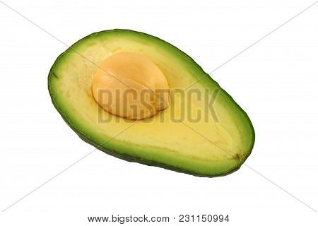 A Isolated Avocado Half With Pit Image