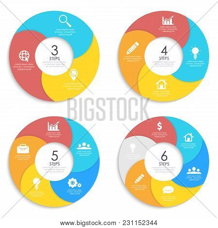 Set Round Spiral Infographic Template For Circle Diagram, Options, Web Design, Graph. Business Conce