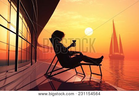 Silhouette of a girl and a yacht...3d render
