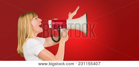 Woman Holding Megaphone against a red background