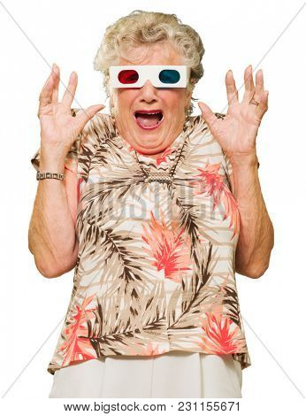 Afraid Senior Woman Watching 3d Movie Screaming On White Background