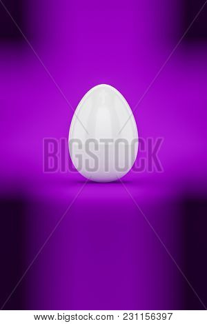 3d illustration of a white easter egg on purple background