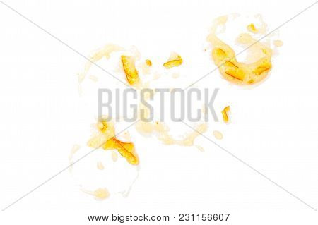 Stains Of Orange Jam. Different Jam Spots From Jars.  Isolated On White Background.  Top View, Flat