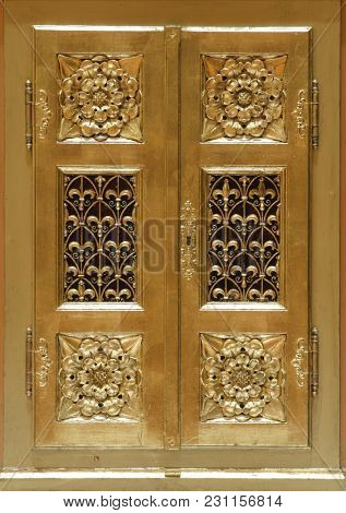 ZAGREB, CROATIA - AUGUST 16: Door of Tabernacle on the altar of Virgin Mary in Zagreb cathedral dedicated to the Assumption of Mary in Zagreb on August 16, 2017.