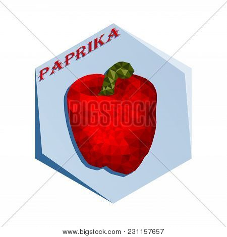 Label For Seasoning Paprika Pepper Polygonal Style