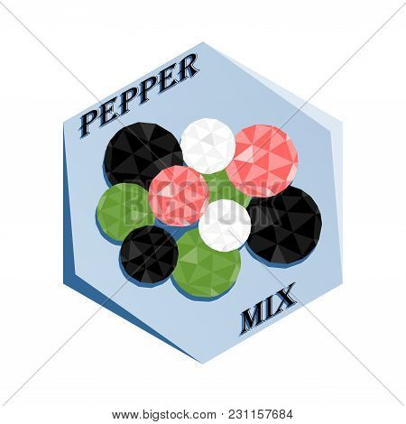 Label For Seasoning Pepper Mix Polygonal Style