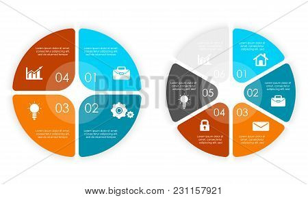 Set Of Round Infographic Diagram. Circles Of 4 And 6 Elements Or Steps. Vector Eps10