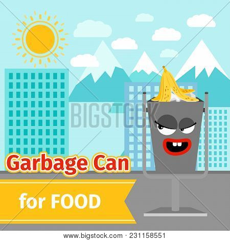 Garbage Can With Food Trash And Monster Face On The Street, Vector Illustration