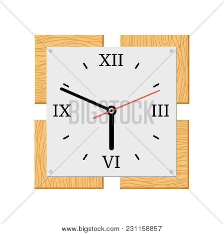 Square Modern Wooden Wall Clock Isolated Vector Illustration