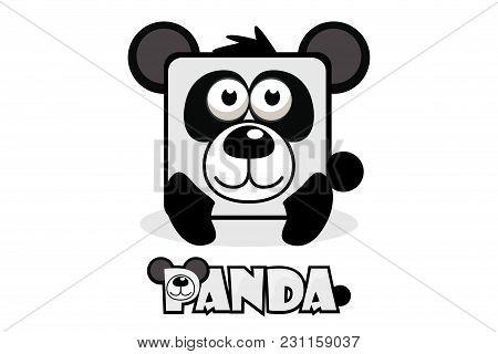Cute Cartoon Square Panda. Set Vector Wild Animals