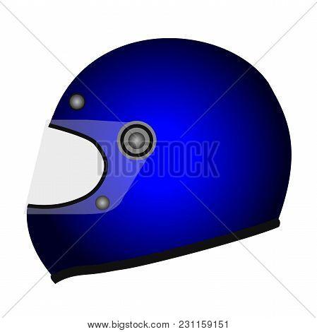 Cyan Racing Helmet Icon. Isometric Illustration Of Cyan Racing Helmet Vector Icon For Web