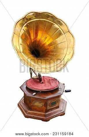 Retro Old Gramophone Isolated On White Background.