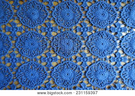Rustic Blue Lacy Fabric On Wood From Above