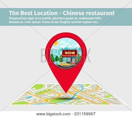 The Best Location Chinese Restaurant. Point On The Map With Building, Vector Illustration