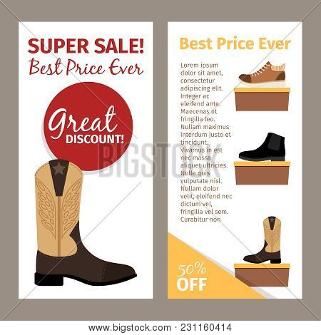 Shoes For Men. Mans Footwear Like Leather Beige Autumn Boots. Vertical Flyers Design
