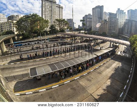 Sao Paulo, Brazil, February 22, 2018: View Of People Waiting For Urban Buses In Bandeira Bus Termina
