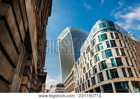 London, Uk - April 16: Financial Office Buildings On April 16, 2017 In London, Uk. Walkie Talkie Ris