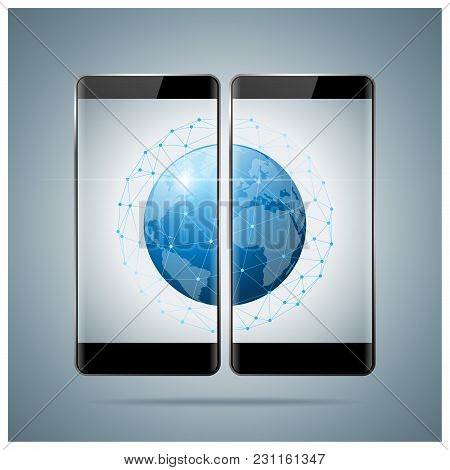 Global Network , Communication And Connection Technology Concept Background , Vector , Illustration