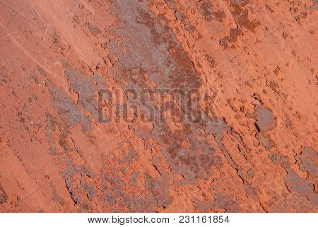 Surface Of Rusty Iron With Remnants Of Old Paint, Chipped Paint,  Grunge Metal Surface, Red Texture,