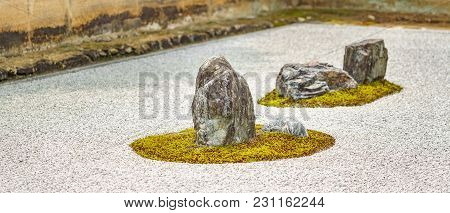 Long View Of Typical Japanese Garden With Few Elements