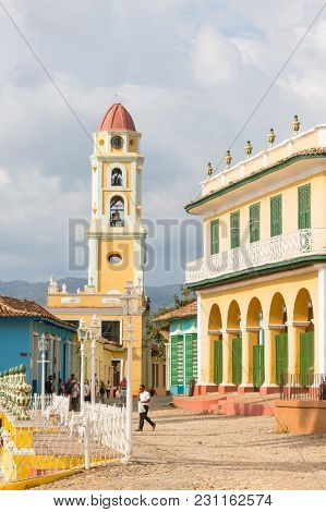 Trinidad, Cuba - January 4, 2017: Urban Scene In Colonial Town Cityscape Of Trinidad, Cuba. Unesco W