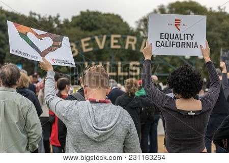 Beverly Hills, California - March 12, 2018: Equality California Signs From Protesters At The Defend