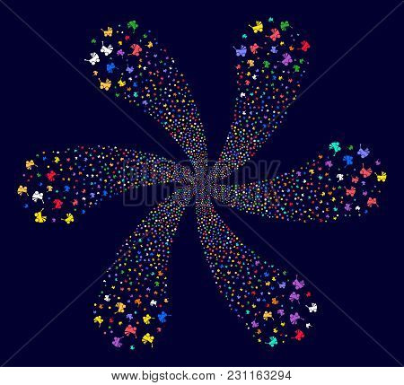 Psychedelic Baby Carriage Cycle Fireworks On A Dark Background. Psychedelic Vector Cycle Composed Fr