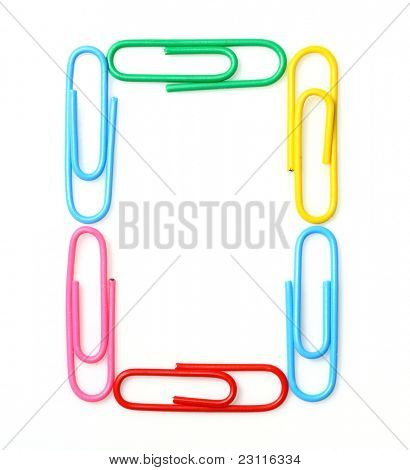 Colorful number zero from paperclips. One part of funny school or office alphabet.