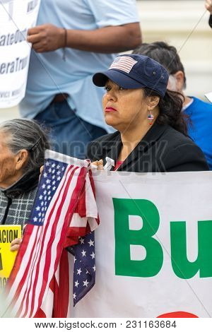 Beverly Hills, California - March 12, 2018: Protesters At The Defend Dreamers Rally Hosted By Coalit