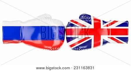 Boxing Gloves With British And Russian Flags. Governments Conflict Concept, 3d Rendering