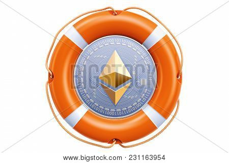 Ethereum Coin In The Lifebuoy, Protection And Safety Concept. 3d Rendering